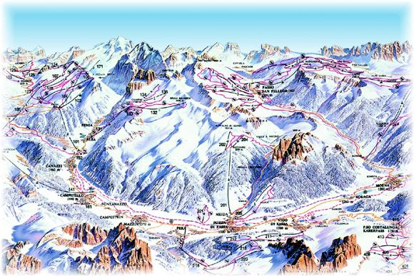 Карта склонов Валь ди Фасса