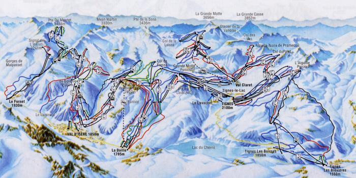 карта склонов Валь д'Изер (Val